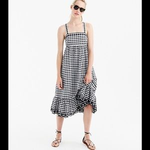 Crew Sz 2 Puckered Gingham Dress With Eyelet Trim